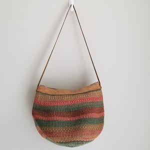 Kiondo Bag. Sisal woven bag with leather trimming